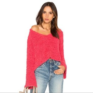 Free People Pink Sand Dune V Neck Sweater Large
